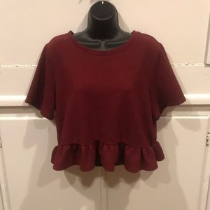 H&M Wine Red Short-sleeve Crop Top SZ L